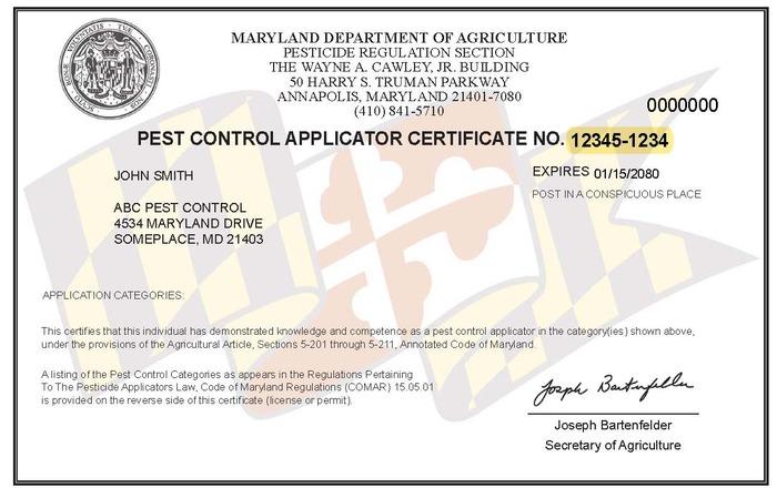 MD Pest Control Applicator Certificate